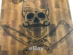 14 Hand Burned Hardwood Walnut Mustache Chef Skull Butchers Block Cutting Board