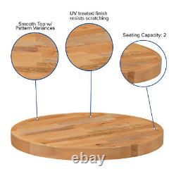 24'' Round Butcher Block style Restaurant Table Top in Solid Wood Natural Finish
