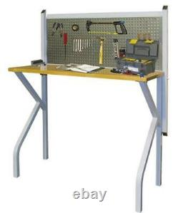47 Silver Steel Wall Mounted Collapsible Work Bench Butcher Block Pegboard