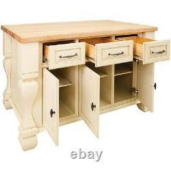 53 x 33.5 Antique White Wood Kitchen Island Cabinet Traditional Furniture