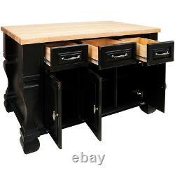 53 x 33.5 Distressed Black Wood Kitchen Island Cabinet Antique Furniture