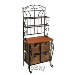 65.25 in. Bakers Rack Butcher-Block Style with 4 Wicker Basket Drawers, Black