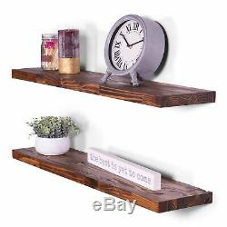 8 Deep Butcher Block Pine Floating Shelves 36 (Set of 2) (Buckskin)