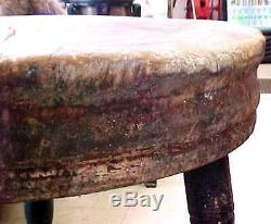 ANTIQUE Primitive Round Wooden Butcher Block with Turned Legs 19th Century