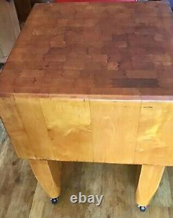AUTHENTIC VINTAGE 1940's ERA, SLIGHTLY USED, FREE STANDING BUTCHER BLOCK