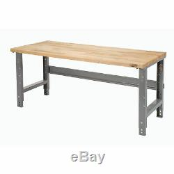 Adjustable Height Maple Butcher Block Square Edge Work Bench, 60W X 30D, 1