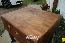 Antique 36 x 30 Solid Beefy Maple Wood Butcher Block Table Kitchen Island