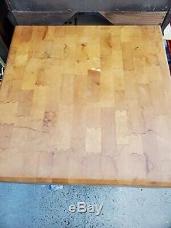 Antique BALLY Wood Butcher Block Table Kitchen Wooden White Wash Legs FLAT TOP