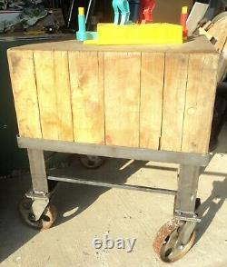 Antique Butcher Block Island Butcher's Table Hardwood 30x30x36 Custom Stand