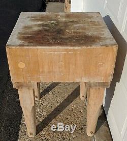Antique Butcher Block Solid Maple 24x24x32 8 Block Vtg Rustic Genuine