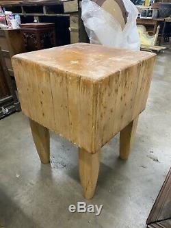 Antique Butcher Block Solid Maple 24x24x33 Rustic Genuine FREE SHIPPING