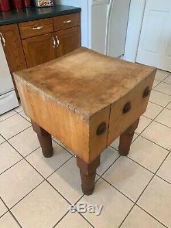 Antique Butcher Block Table 24x24 1/2 Original Unrestored