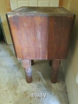 Antique Butcher Block Table 30x18x18