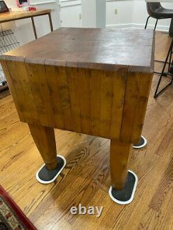Antique Butcher Block Table 32x24x24