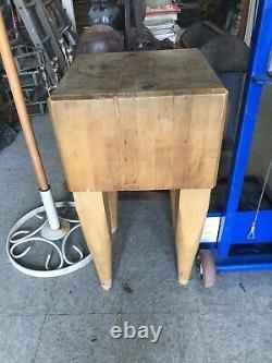 Antique Butcher Block Table 34X18X12