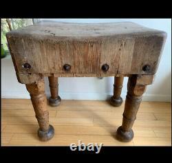 Antique Butcher Block Table BOSTON MA Primitive Farmhouse Furniture Decor