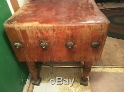 Antique Butcher Block Table The Real Deal 30x30x15 PLUS a hook