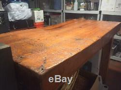 Antique Butcher Block Wood Island or Table great character