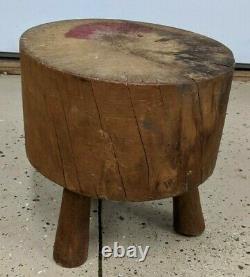 Antique Hand Made 3 Legged Small Butcher Block Stool Decor Primitive Furniture