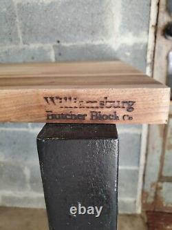 Antique Industrial Table Cast Iron Machine Legs Williamsburg Butcher Block Top