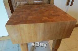 Antique Maple Butcher Block Table 32 High x 23 1/2