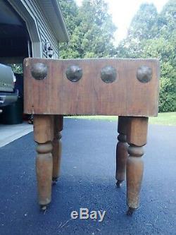 Antique Maple Wood Butcher Block Table