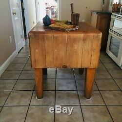 Antique Original Bally Butcher Block Kitchen Island Cutting Surface Stand