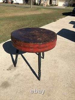 Antique Primitive ROUND TABLE / BUTCHER BLOCK GENERAL STORE