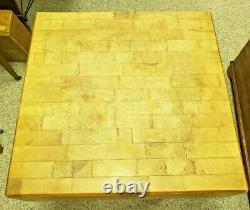 Antique Solid Butcher Block HEAVY Vtg Meat Kitchen Wood Table Vintage Commercial