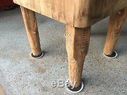 Antique Vintage Solid Butcher Block Table 24 X 24 X 34 tall X15.25deep