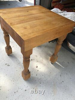 Antique Vintage Solid Butcher Block Table 33X33X34tall X6 Thick