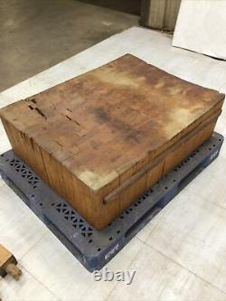 Antique Vintage Solid Wood Butcher Block 41.5 X 31 X 13 Thick