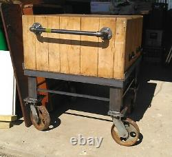 Antique Vtg Butcher Block Butcher's Island Hardwood 30 x 30 x 36 Custom Stand