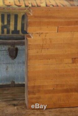 Antique Vtg Primitive Butcher Block Wood Bread Cutting Board Country Farmhouse