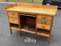 Antique Watchmaker Jewelers Work Bench Desk Machinist Butcher block Top