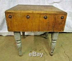 Antique Wood Butcher Block Table Kitchen Island Wooden Legs