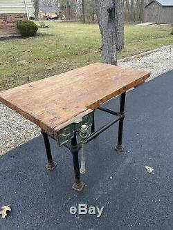 Antique Workbench, Butcher Block, Vise, Kitchen Island, Desk, table, Drafting