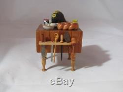 Artisan Signed Dollhouse Miniature Butcher Block Table With Cooked Ham, Knives