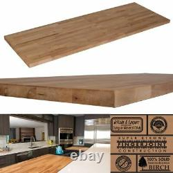 BUTCHER BLOCK COUNTERTOP Wood Indoor Kitchen Unfinished Birch Cutting Board Edge