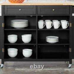 Bainport Black Wood Kitchen Island with Natural Butcher Block Top 44.25 in. W