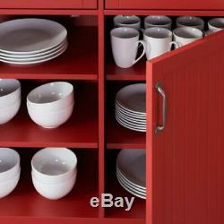 Bainport Chili Red Wood Kitchen Island with Natural Butcher Block Top 44.25 in