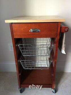Bar Serving Beverage Cart Wheels Storage Trolley Table Food Server Butcher Block