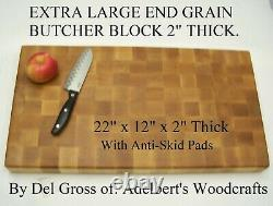 Beautiful EX Large Solid Hard Maple End Grain Butcher Block With Anti-Skid Pads