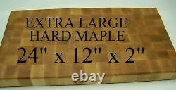Beautiful Extra Large 24 x 12 x 2 Solid Hard Maple End Grain Butcher Block