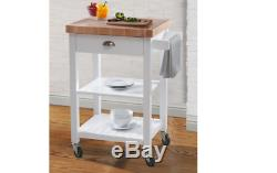 Bedford White Kitchen Cart Butcher Block Top Thick Wood Shelves Grain Storage