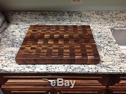 Black Walnut Butcher Block Cutting Board NEW End Grain 16 X 20 With Sap Pattern