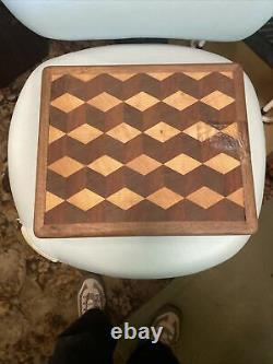 Black Walnut Butcher Block Cutting Board New End Grain 14X12 Tumbling Block