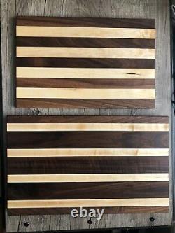 Black Walnut/Hard Maple Hardwood Butcher Block Cutting Board MATCHING SET