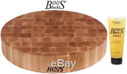 Boos Blocks Prep Blocks Chopping Board Maple Ø 18 1/8x3in + Cleansing Creme BB28