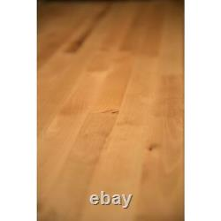 Butcher Block Countertop 3 ft x 3 ft x 1.5 in. Unfinished Birch Natural Hardwood